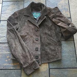 Vintage Lauren Ralph Petite Brown Suede Jacket S